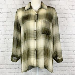 Band of Gypsies Plaid Sheer High Low Button Top